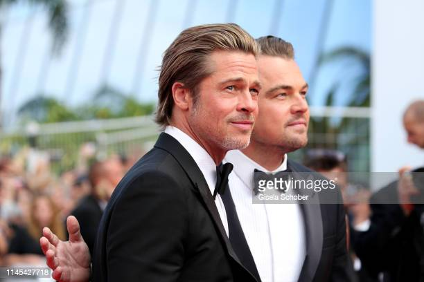 Leonardo DiCaprio and Brad Pitt attends the screening of Once Upon A Time In Hollywood during the 72nd annual Cannes Film Festival on May 21 2019 in...