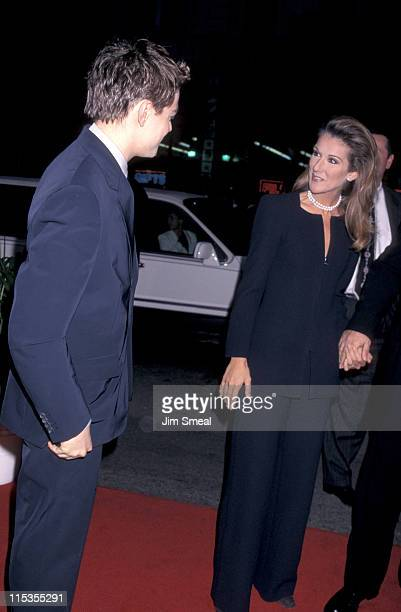 Leonardo DiCaprio And Celine Dion during 'Titanic' Los Angeles Premiere 1997 at Mann Chinese Theatre in Hollywood California United States