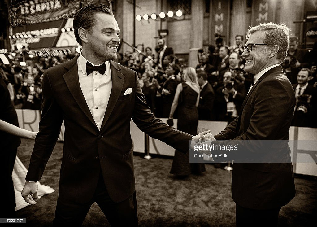 Leonardo DiCaprio and Christoph Waltz attend the 86th Annual Academy Awards at Hollywood & Highland Center on March 2, 2014 in Hollywood, California.