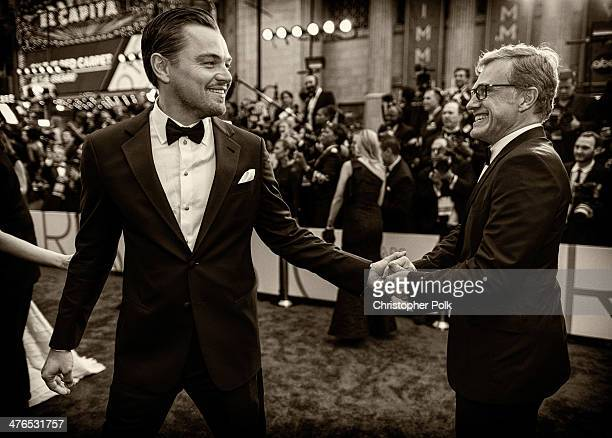 Leonardo DiCaprio and Christoph Waltz attend the 86th Annual Academy Awards at Hollywood Highland Center on March 2 2014 in Hollywood California