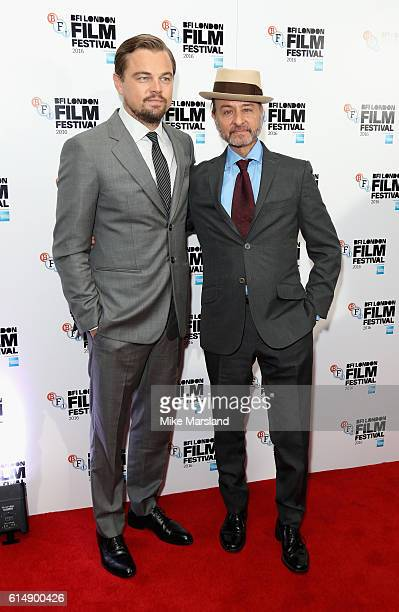 Leonardo DiCaprio and Director Fisher Stevens attend the 'Before The Flood' screening during the 60th BFI London Film Festival at Haymarket Cinema on...