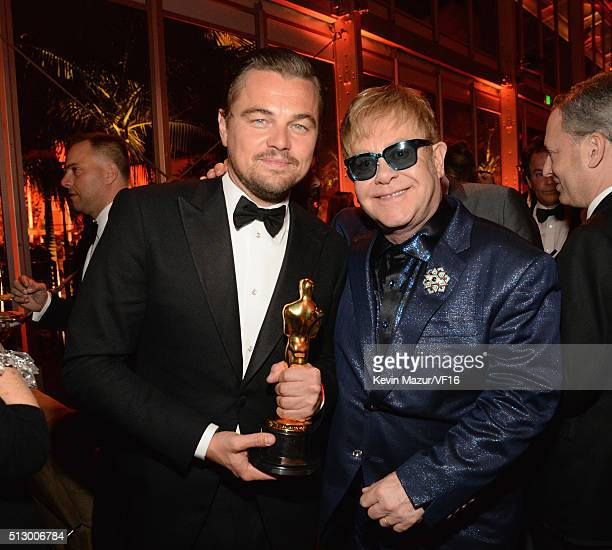 Leonardo DiCaprio and Elton John attend the 2016 Vanity Fair Oscar Party Hosted By Graydon Carter at the Wallis Annenberg Center for the Performing...