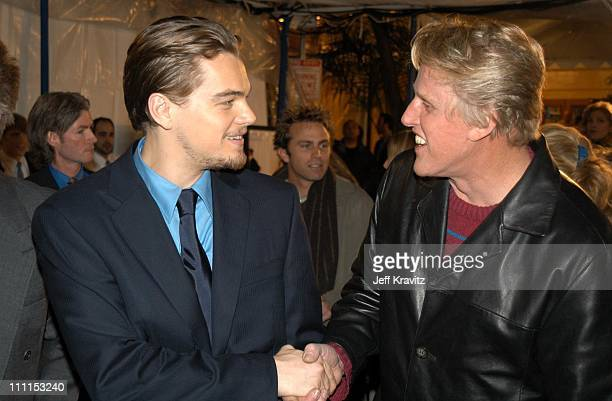 Leonardo DiCaprio and Gary Busey during Dreamworks Premiere of Catch Me If You Can at Mann Village Theater in Westwood California United States