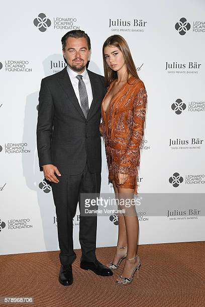 Leonardo DiCaprio and Helena Gatsby daughter of Mg GF Chairman pose at a photocall during The Leonardo DiCaprio Foundation 3rd Annual SaintTropez...