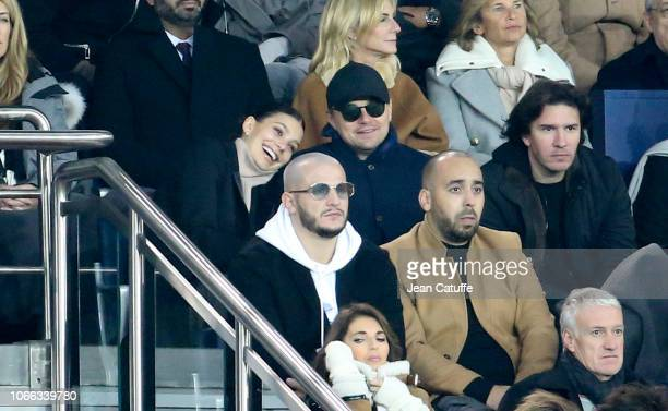 Leonardo DiCaprio and his girlfriend Camila Morrone below DJ Snake attend the UEFA Champions League Group C match between Paris SaintGermain and...