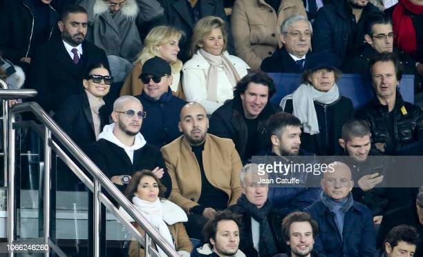 Leonardo DiCaprio and his girlfriend Camila Morrone Mick Jagger below DJ Snake attend the Group C match of the UEFA Champions League between Paris...