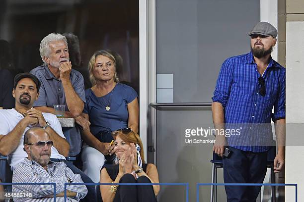 Leonardo DiCaprio and his mother Irmelin Indenbirken, Bobby Zarin and Jill Zarin attend day 10 of the 2014 US Open at USTA Billie Jean King National...