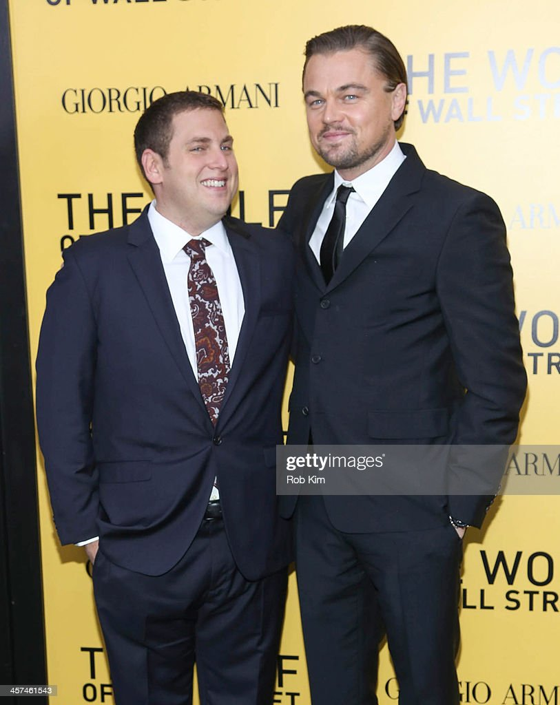 Leonardo DiCaprio (R) and Jonah Hill attend the 'The Wolf Of Wall Street' premiere at Ziegfeld Theater on December 17, 2013 in New York City.