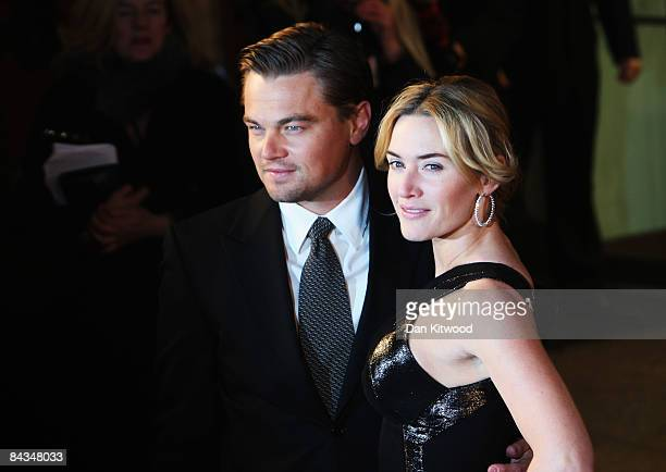 Leonardo DiCaprio and Kate Winslet arrive for the European Film Premiere of 'Revolutionary Road' at the Odeon Leicester Square on January 18 2009 in...