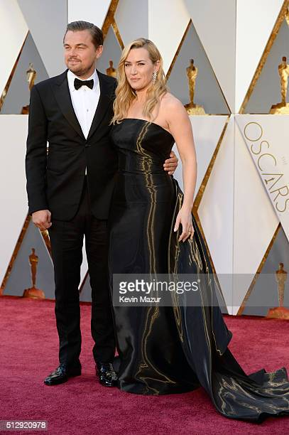 Leonardo DiCaprio and Kate Winslet attend the 88th Annual Academy Awards at Hollywood Highland Center on February 28 2016 in Hollywood California