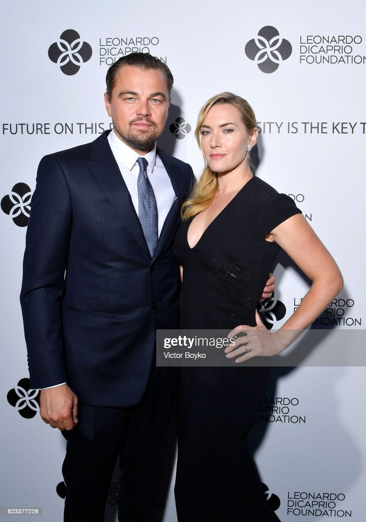 Leonardo DiCaprio and Kate Winslet attend the cocktail reception of the Leonardo DiCaprio Foundation 4th Annual Saint-Tropez Gala at Domaine Bertaud Belieu on July 26, 2017 in Saint-Tropez, France.