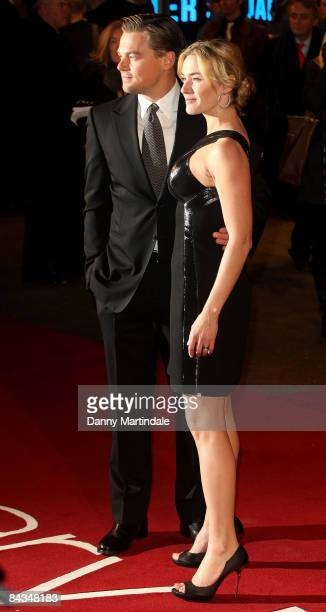 Leonardo DiCaprio and Kate Winslet attend the European Premiere of Revolutionary Road at the Odeon Leicester Square on January 18 2009 in London...