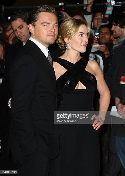 Leonardo DiCaprio and Kate Winslet attend the UK premiere of 'Revolutionary Road' at Odeon Leicester Square on January 18 2009 in London England