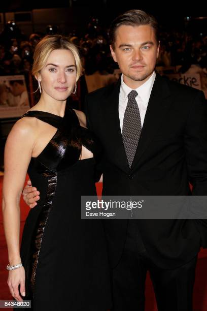 Leonardo DiCaprio and Kate Winslet attend the UK premiere of 'Revolutionary Road' held at the Odeon Leicester Square on January 18 2009 in London...