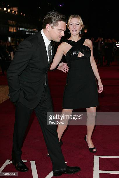 Leonardo DiCaprio and Kate Winslet attends the European Premiere of Revolutionary Road at the Odeon Leicester Square on January 18 2009 in London...