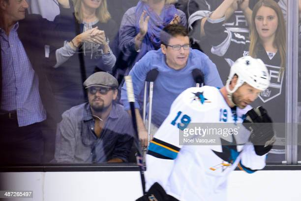 Leonardo DiCaprio and Kevin Connolly attend an NHL playoff game between the San Jose Sharks and the Los Angeles Kings at Staples Center on April 28,...
