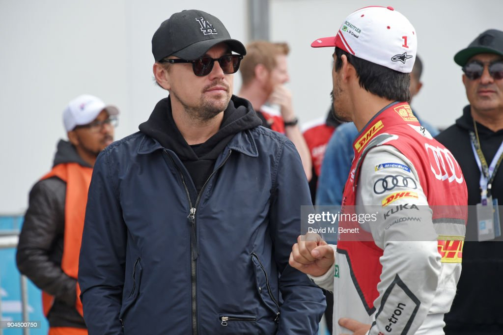 Leonardo DiCaprio (L) and Lucas di Grassi attend the ABB FIA Formula E Marrakech E-Prix on January 13, 2018 in Marrakech, Morocco.