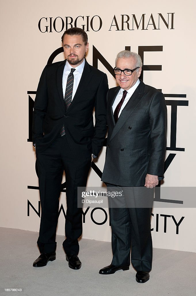 Leonardo DiCaprio (L) and Martin Scorsese attend Armani - One Night Only New York at SuperPier on October 24, 2013 in New York City.