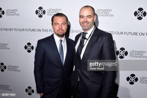 Leonardo DiCaprio and Milutin Gatsby attend the Leonardo DiCaprio Foundation 4th Annual SaintTropez Gala at Domaine Bertaud Belieu on July 26 2017 in...