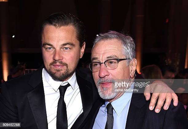 Leonardo DiCaprio and Robert De Niro attend the 2016 amfAR New York Gala at Cipriani Wall Street on February 10 2016 in New York City
