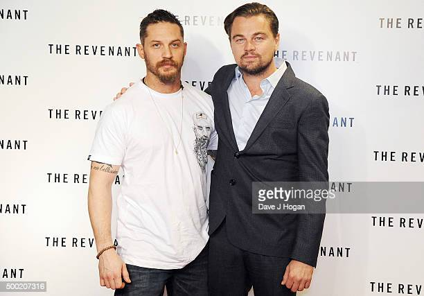 Leonardo DiCaprio and Tom Hardy attend a BAFTA screening of 'The Revenant' at Empire Leicester Square on December 6 2015 in London England