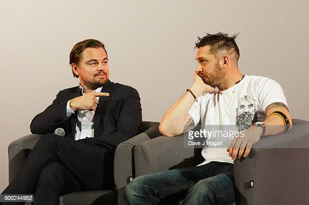 Leonardo DiCaprio and Tom Hardy attend a QA following a BAFTA screening of 'The Revenant' at Empire Leicester Square on December 6 2015 in London...