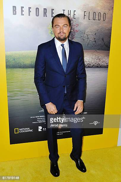 Leonardo DiCaprio arrives at the National Geographic 'Before The Flood' Screening at Bing Theatre At LACMA on October 24 2016 in Los Angeles...