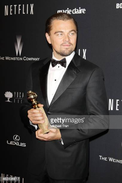 Leonardo DiCaprio arrives at The Weinstein Company and NetFlix 2014 Golden Globe Awards after party held on January 12, 2014 in Beverly Hills,...