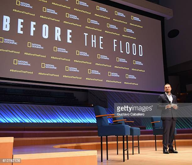 """Leonardo DiCaprio attends """"Before The Flood"""" Special Screening at New World Center on October 4, 2016 in Miami Beach, Florida."""