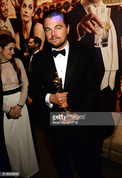 Leonardo DiCaprio attends the 2016 Vanity Fair Oscar Party Hosted By Graydon Carter at the Wallis Annenberg Center for the Performing Arts on...