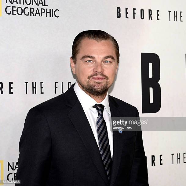 Leonardo DiCaprio attends the 'Before The Flood' New York premiere at United Nations Headquarters on October 20 2016 in New York City