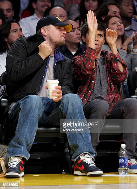 Leonardo DiCaprio attends the Los Angeles Lakers vs Utah Jazz game at Staples Center on April 14 2009 in Los Angeles California