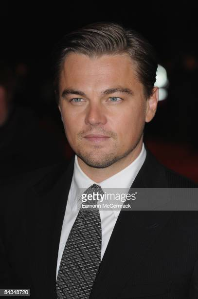 Leonardo DiCaprio attends the UK premiere of 'Revolutionary Road' at Odeon Leicester Square on January 18 2009 in London England