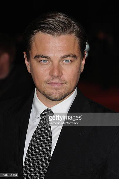 Leonardo DiCaprio attends the UK premiere of 'Revolutionary Road'at Odeon Leicester Square on January 18 2009 in London England