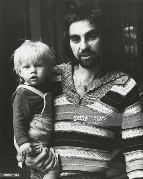 Leonardo DiCaprio being held by his father George DiCaprio outside their home in Hollywood California circa January 1976 JHyams