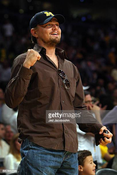 Leonardo DiCaprio cheers as he attends Game Two of the 2009 NBA Finals between the Los Angeles Lakers and the Orlando Magic at Staples Center on June...