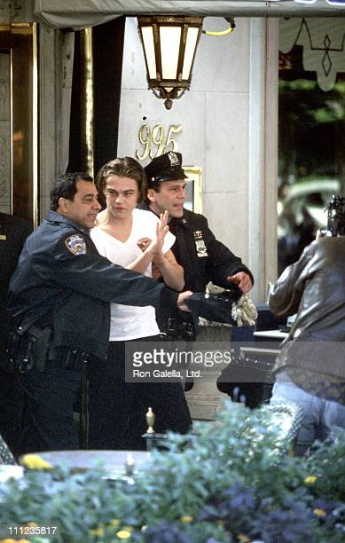 Leonardo DiCaprio during Filming of Woody Allen's Film 'Celebrity' at Stanhope Hotel On Fifith Avenue in New York City New York United States