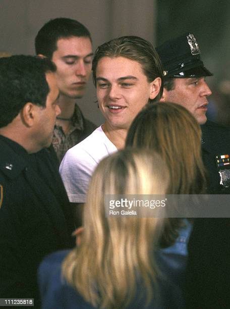 Leonardo DiCaprio during Filming of Woody Allen's Film Celebrity at Stanhope Hotel On Fifith Avenue in New York City New York United States
