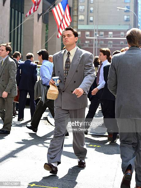 "Leonardo DiCaprio filming on location for ""The Wolf Of Wall Street"" on Pine Street on August 25, 2012 in New York City."
