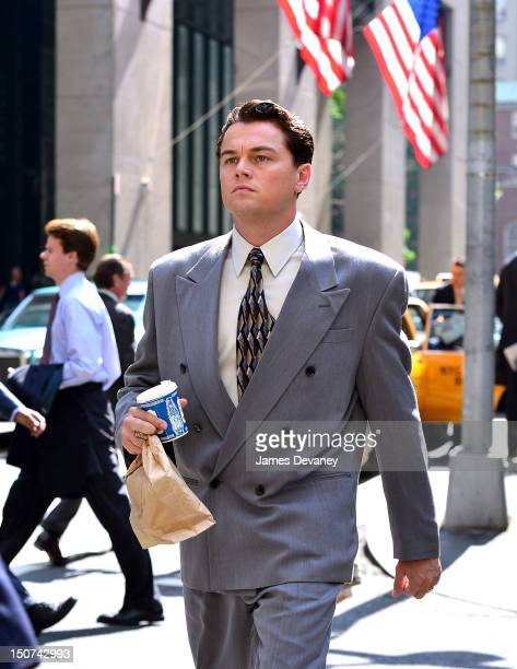 Leonardo DiCaprio filming on location for 'The Wolf Of Wall Street' on Pine Street on August 25 2012 in New York City