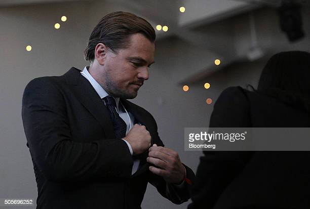 Leonardo DiCaprio Hollywood actor arrives for a plenary session ahead of the World Economic Forum in Davos Switzerland on Tuesday Jan 19 2016 World...