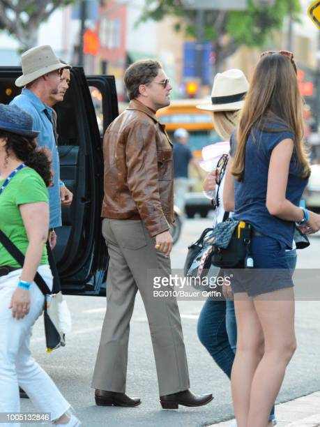 Leonardo DiCaprio is seen on the movie set of the 'Once Upon a Time in Hollywood' on July 24 2018 in Los Angeles California