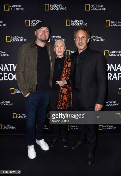 Leonardo DiCaprio, Jane Goodall, and Richard Ladkani attend National Geographic Documentary Films' SEA OF SHADOWS Los Angeles Premiere at NeueHouse...