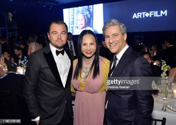 Leonardo DiCaprio LACMA Trustee Eva Chow wearing Gucci and LACMA Director Michael Govan wearing Gucci attend the 2019 LACMA Art Film Gala Presented...