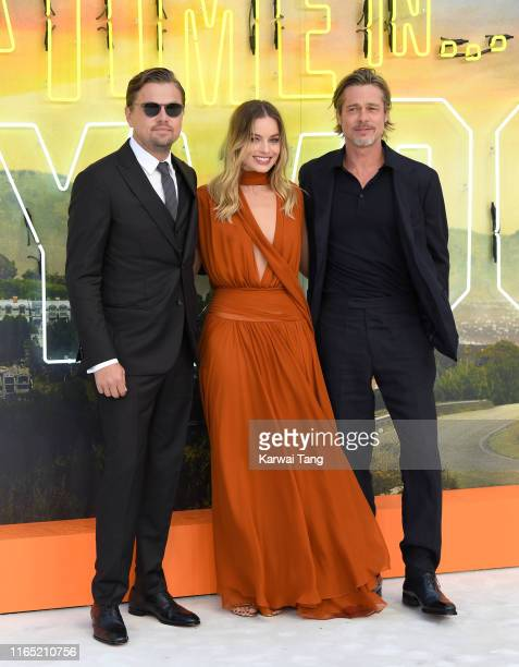 Leonardo DiCaprio Margot Robbie and Brad Pitt attend the Once Upon a Time in Hollywood UK Premiere at Odeon Luxe Leicester Square on July 30 2019 in...