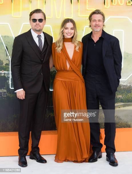 "Leonardo DiCaprio, Margot Robbie and Brad Pitt attend the ""Once Upon a Time... In Hollywood"" UK Premiere at Odeon Luxe Leicester Square on July 30,..."