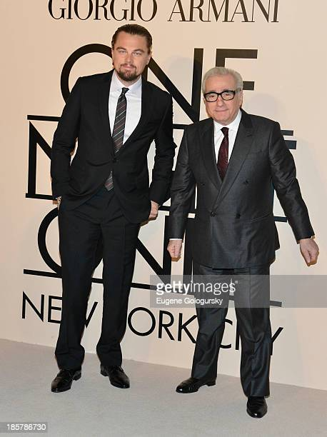 Leonardo DiCaprio Martin Scorsese attend Armani One Night Only New York at SuperPier on October 24 2013 in New York City