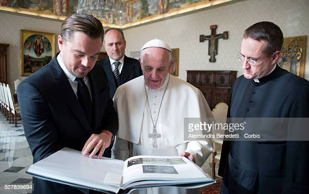 Leonardo DiCaprio met with Pope Francis at the Vatican on January 28 2016 and was presented with leatherbound copies of the Pope's two encyclicalsThe...
