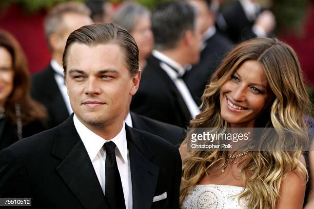 """Leonardo DiCaprio, nominee Best Actor in a Leading Role for """"The Aviator"""" and Gisele Bundchen at the The 77th Annual Academy Awards - Arrivals at..."""