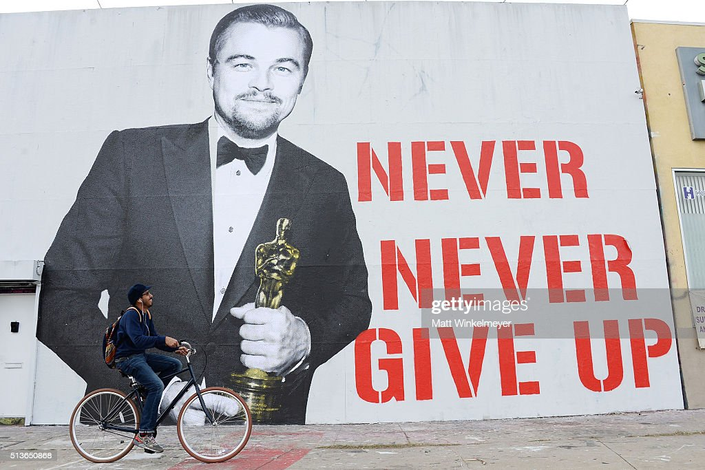 Leonardo DiCaprio Oscar street art mural on March 3, 2016 in Los Angeles, California.